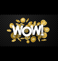 wow background with gold bitcoins vector image