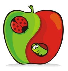 yin yang apple vector image