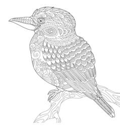 Zentangle stylized kookaburra bird vector