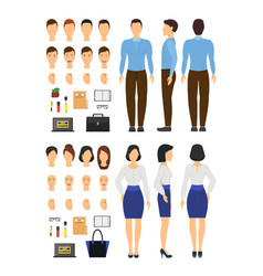 cartoon business woman and man constructor element vector image vector image