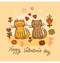 cute cat valentines card vector image vector image