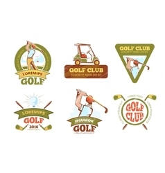 Golf sports club tournament color labels vector image vector image