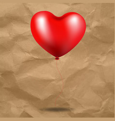 red balloon heart in cardboard background vector image vector image