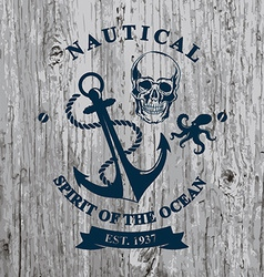 T-shirt design Nautical marine badge design vector image vector image