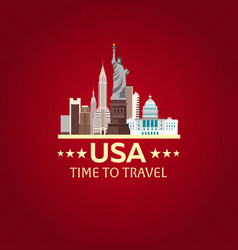 travel to usa new york poster skyline time to vector image vector image