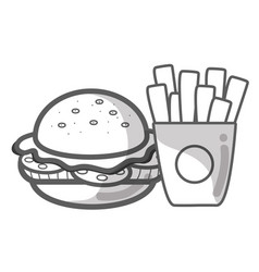contour hamburger and fries french food icon vector image vector image