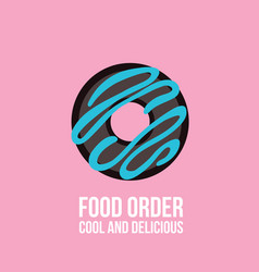 delicious donut on colorful pink background vector image vector image