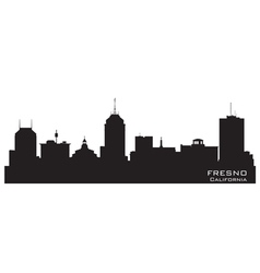 Fresno California skyline Detailed silhouette vector image