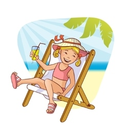 Little girl sitting in chaise-longue on the beach vector image