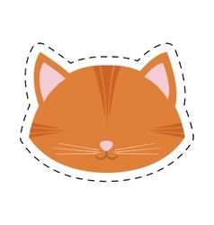 orange cat face pink nose mustache line dotted vector image