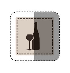 sticker monochrome square with bottle and glass of vector image vector image