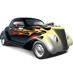 hot rod with flame ornaments vector image vector image