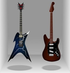 Realistic classic electric guitars sleek style vector