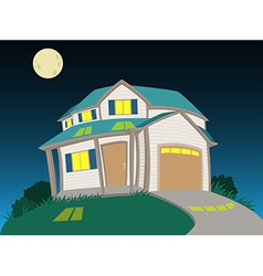 Sweet house at night vector image