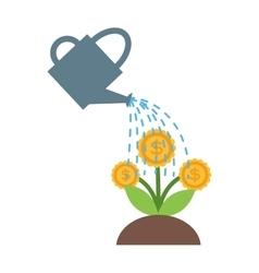 Watering flowers in garden centre nature plant vector