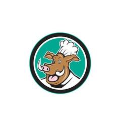 Wild Pig Boar Chef Cook Head Circle Cartoon vector image vector image