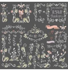 Colored Doodles floral decor setBorderselements vector image