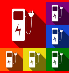 electric car charging station sign set of vector image
