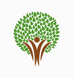 Green tree people symbol for community team help vector