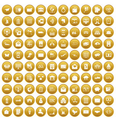 100 postal service icons set gold vector