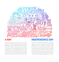 4 july usa line template vector image