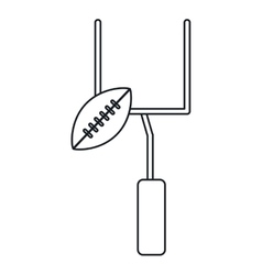 American football goal post ball outline vector