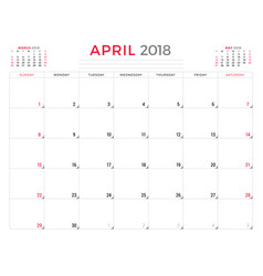 April 2018 calendar planner design template week vector