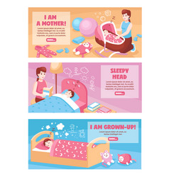 Baby sleep banners vector