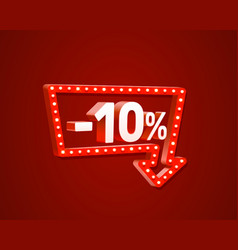 Banner 10 off with share discount percentage neon vector