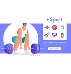 Banner sport exercise and linear icons set vector