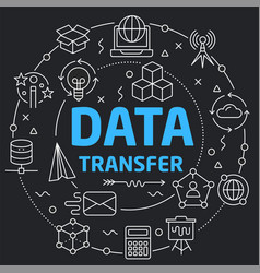 Black line flat circle data transfer vector