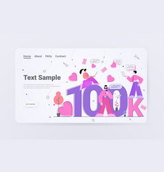 Bloggers getting score 100k likes or followers vector