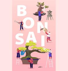 Bonsai growing concept people characters enjoying vector