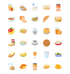breakfast flat icons set vector image