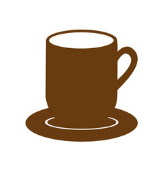 brown dish porcelain with mug vector image
