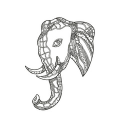 Bull elephant head doodle art vector