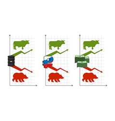 Bulls and bears rise and fall of quotations green vector