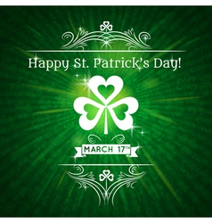 Card for St Patricks Day with text and shamrock vector image