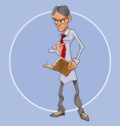 cartoon man with a book in his hand looks vector image