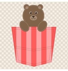 Cartoon teddy bear in pocket vector