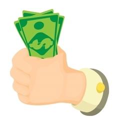 Cash in hand icon cartoon style vector