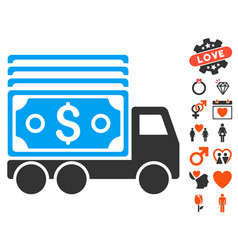 cash lorry icon with valentine bonus vector image