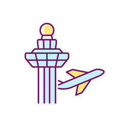 Changi airport control tower rgb color icon vector