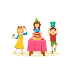 Children having fun in a birthday party vector