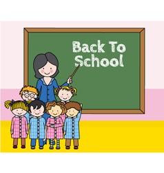Children with teacher at school vector