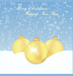 christmas background with gold balls and snow vector image