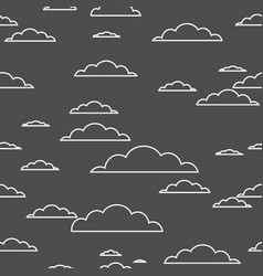 cloud seamless pattern white contour on black vector image
