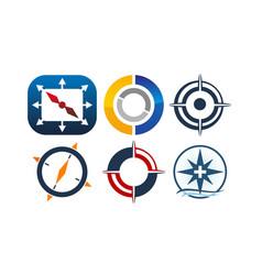 Compass marketing business distribution set vector