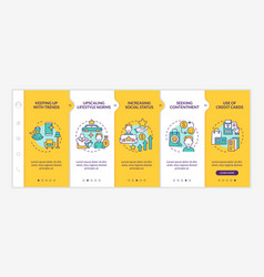 Consumerism motivation yellow onboarding template vector