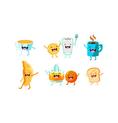 Cute food and drinks characters set funny healthy vector